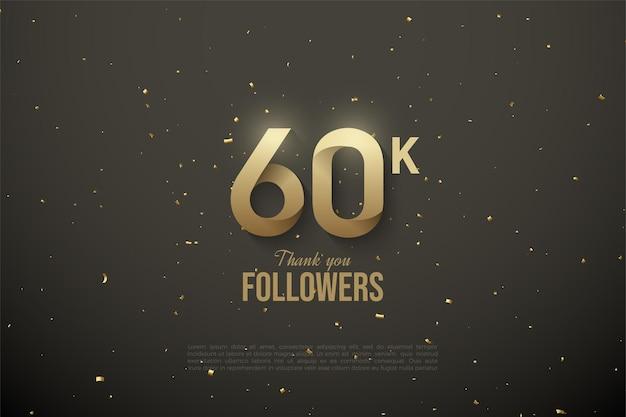 60.000 follower mit gemusterter numerischer schrift