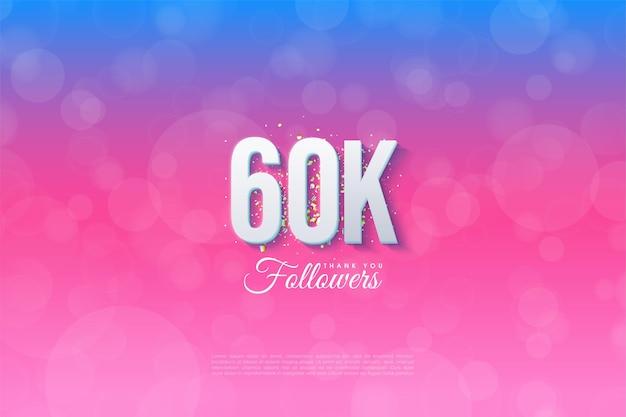 60.000 follower mit illustriertem hintergrund von blau bis pink.