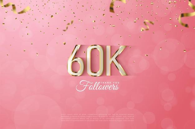 60.000 follower mit üppiger, gold umrandeter, umrissener zahlen- und buchstabenillustration.
