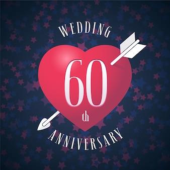 60 jahre ehe. herz und pfeil zur dekoration für die hochzeit zum 60. jahrestag.