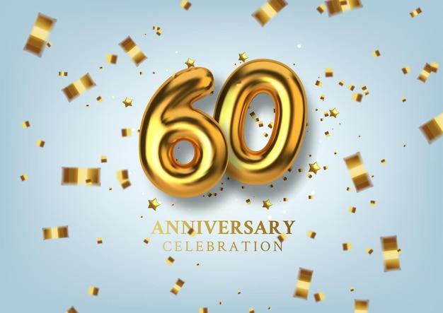 60. jubiläumsfeier nummer in form von goldenen luftballons.