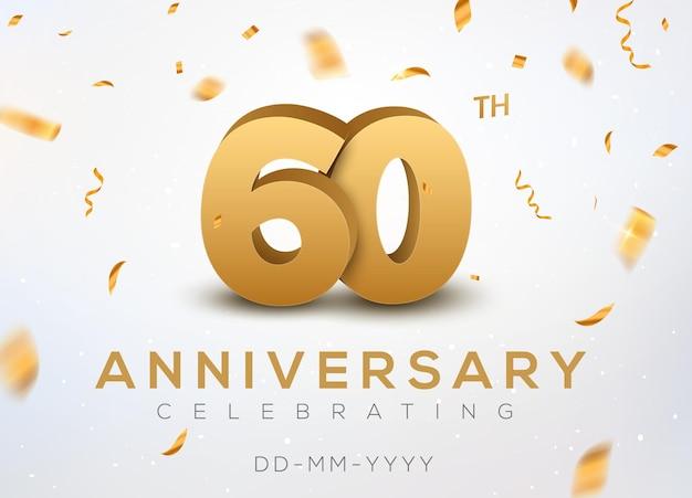 60 jubiläumsgoldzahlen mit goldenem konfetti. feier 60-jähriges jubiläum