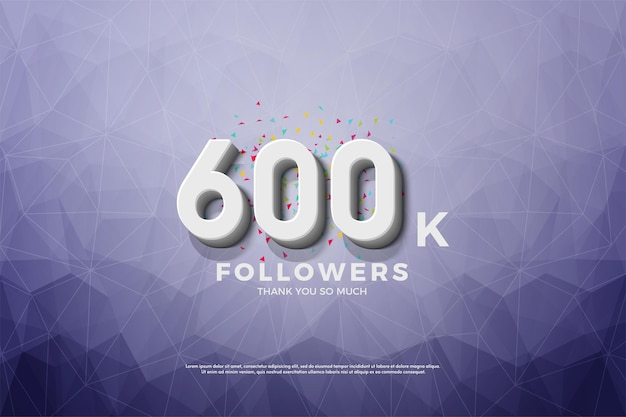 600.000 follower auf kristallpapierhintergrund