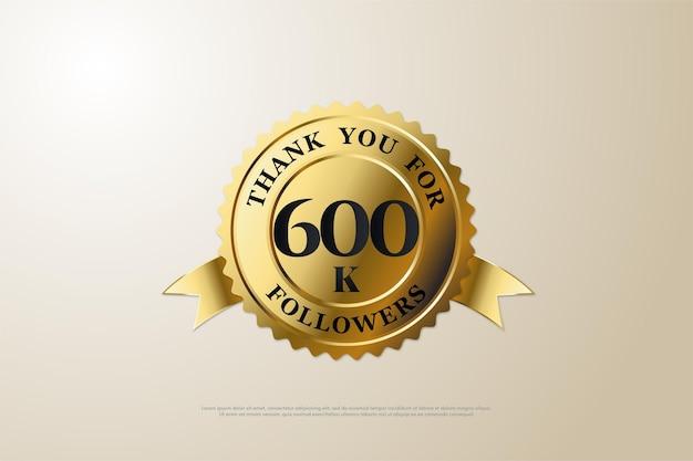 600.000 follower-hintergrund mit flachem design und einzigartiger nummer