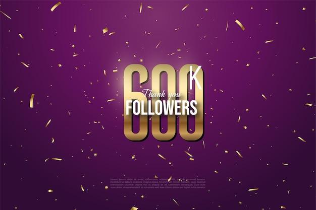 600.000 follower hintergrund mit flachen goldenen zahlen