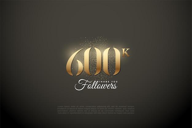 600.000 follower hintergrund mit glänzenden goldenen zahlen