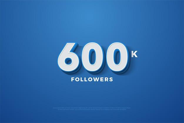 600.000 follower mit 3d-nummern auf blauem hintergrund