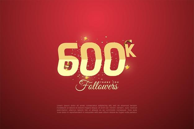 600.000 follower mit abgestuften zahlen auf rotem hintergrund