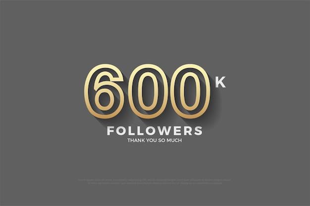 600.000 follower mit braun umrandeten zahlen auf braunem hintergrund