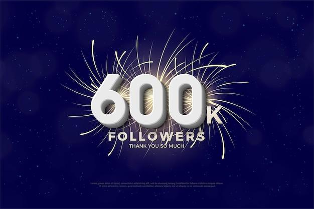 600.000 follower mit weißen 3d-zahlen und feuerwerk