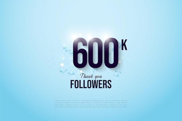 600.000 follower mit zahlen auf hellblauem hintergrund