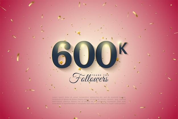 600.000 follower mit zahlen und hellem hintergrund mit farbverlauf