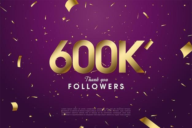 600k follower hintergrund mit verstreuten zahlen und goldfolie