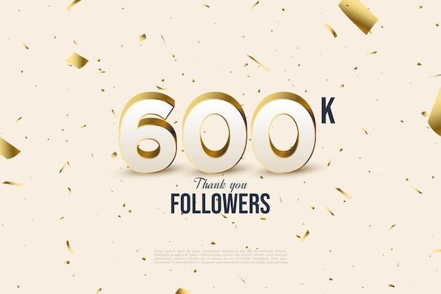 600k follower hintergrund mit verstreuter goldfolie