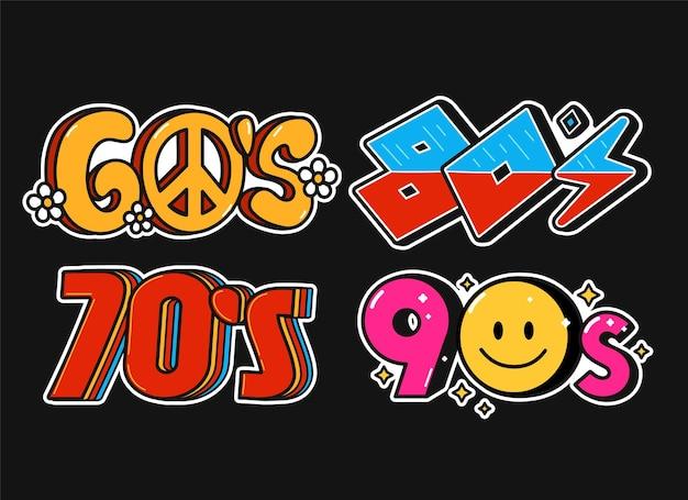 60er 70er 80er 90er jahre party vintage retro-stil zeichen set sammlung vektor-doodle-illustration-logo-symbol