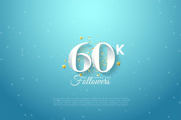 60k anhänger mit numerischer illustration auf blauem himmel.