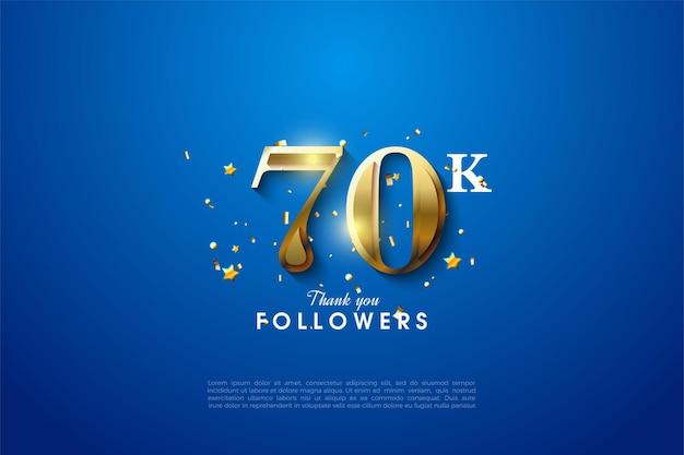 60k follower mit glitzernder 3d-goldzahlillustration.