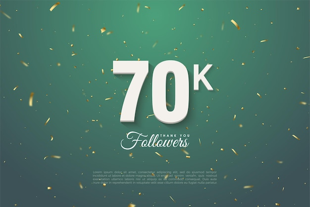 60k follower mit goldenen zahlen und punkten auf dunkelgrünem hintergrund.