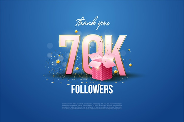 60k follower mit illustrierten nummern und geschenkboxen.
