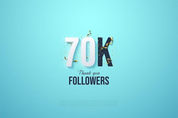 60k follower mit illustrierten zahlen und partybevorzugungen auf hellblauem hintergrund.