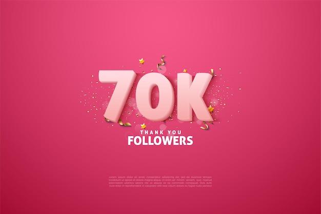 60k follower mit weicher weißer numerischer 3d-illustration.