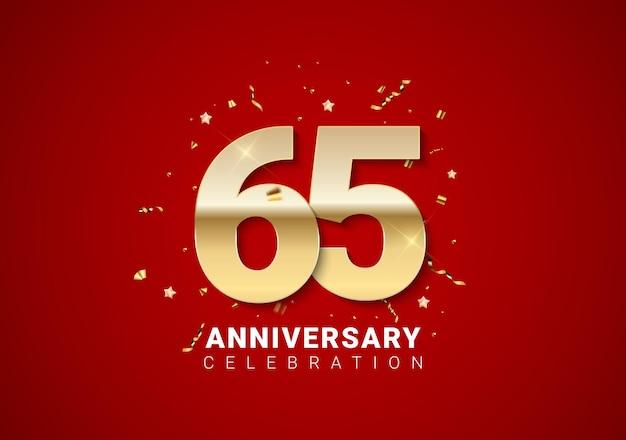 65 jubiläumshintergrund mit goldenen zahlen, konfetti, sternen auf leuchtend rotem feiertagshintergrund. vektor-illustration eps10