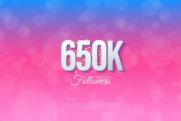 650.000 follower mit abgestuftem hintergrund