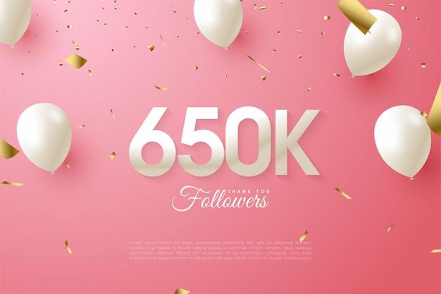 650.000 follower mit ballonillustration