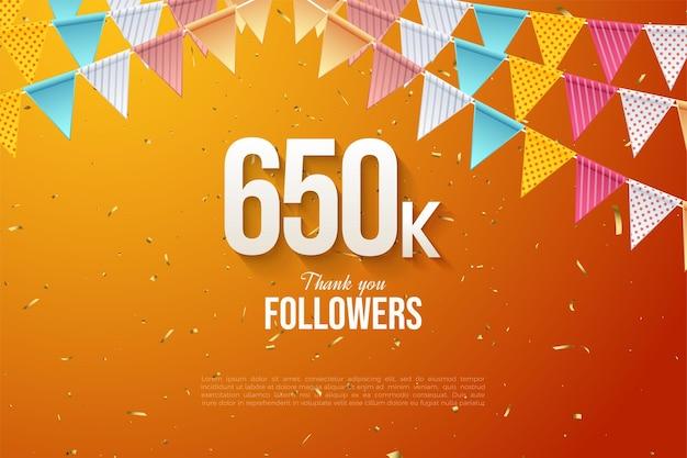 650.000 follower mit bunten zahlen und flaggen