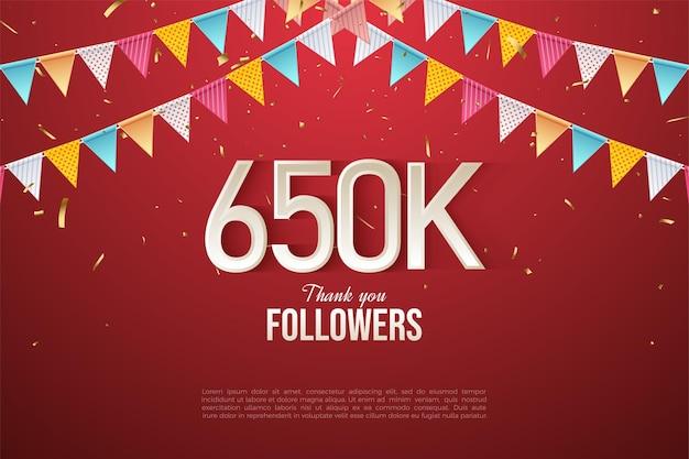 650.000 follower mit bunter flaggenillustration