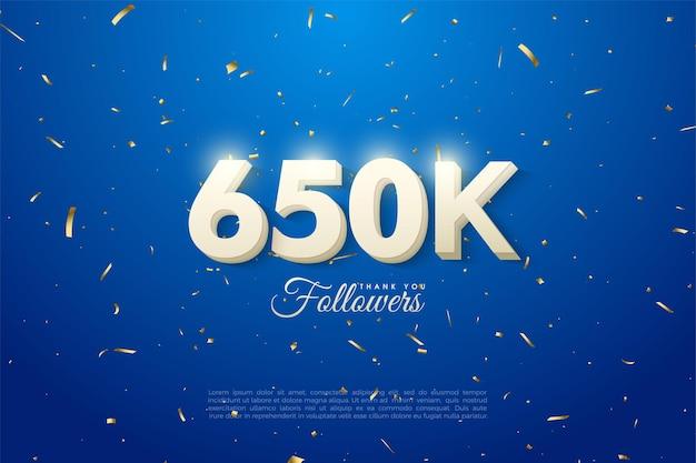 650.000 follower mit durchgehend weißen zahlen