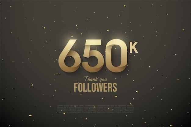 650.000 follower mit gemusterten zahlen