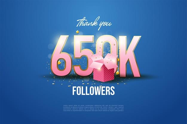 650.000 follower mit geschenkbox-illustration
