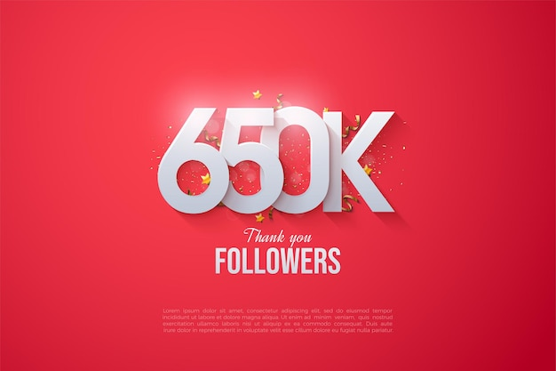 650.000 follower mit gestapelten zahlen