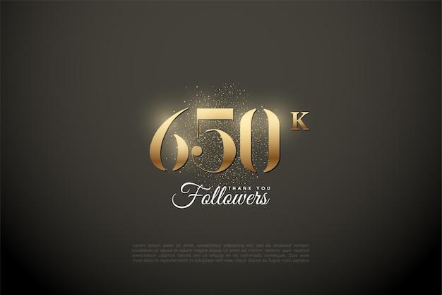 650.000 follower mit glänzenden goldenen zahlen und punkten