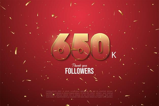 650.000 follower mit golden umrandeten zahlen