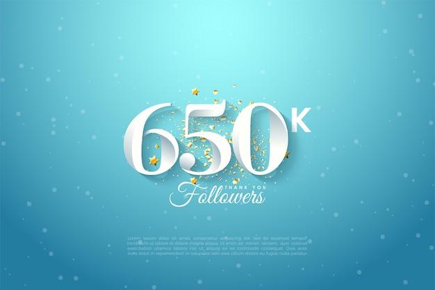 650.000 follower mit himmelshintergrundillustration
