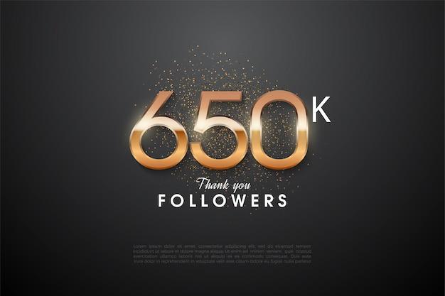 650.000 follower mit im dunkeln leuchtenden zahlen