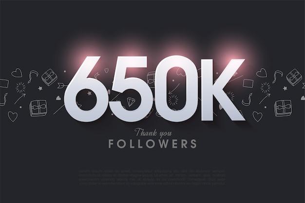 650.000 follower mit leuchtenden zahlen