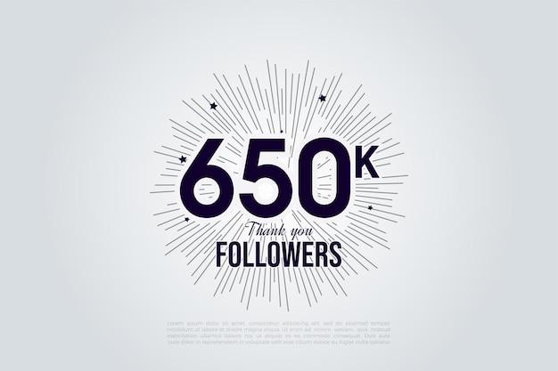 650.000 follower mit schwarzen auf weißen zahlen