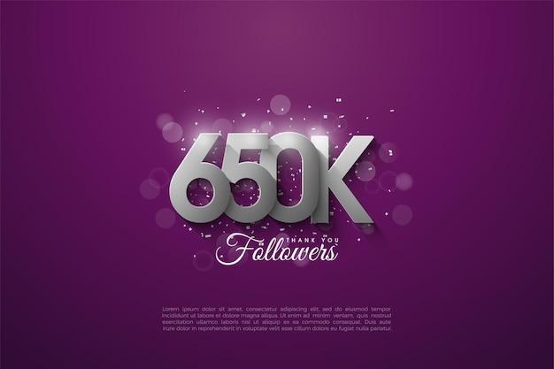 650.000 follower mit silbernen zahlen aufgetürmt