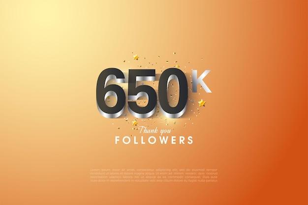 650.000 follower mit silberner ziffernüberlagerung