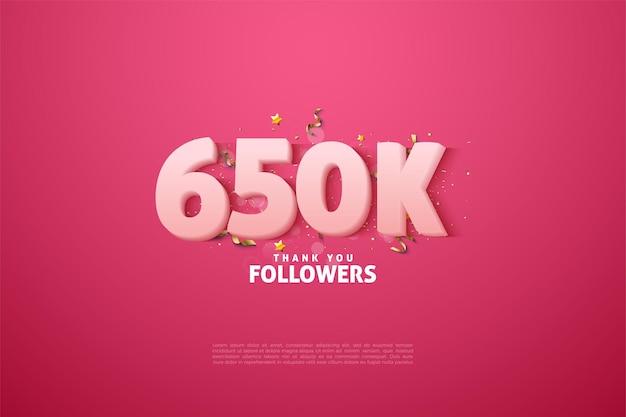 650.000 follower mit weichen weißen zahlen
