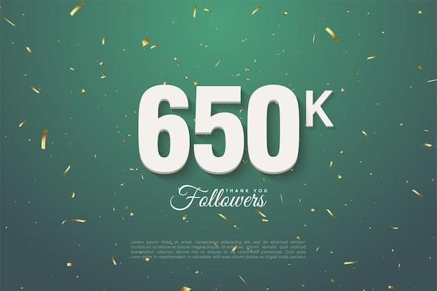 650.000 follower mit zahlen auf dunklem blattgrünem hintergrund