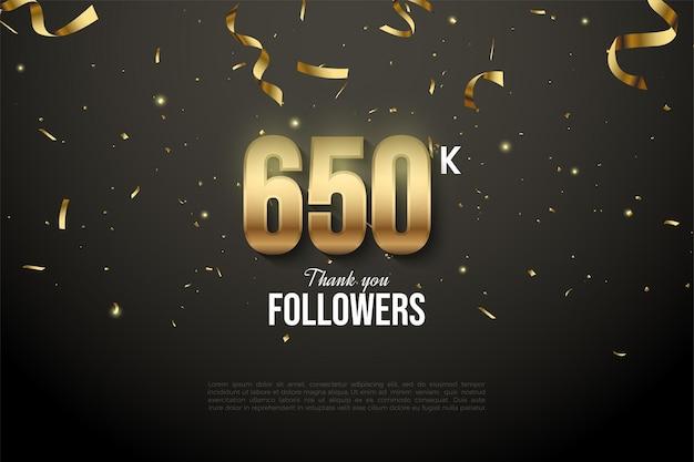 650.000 follower mit zahlen und goldband-tropfen