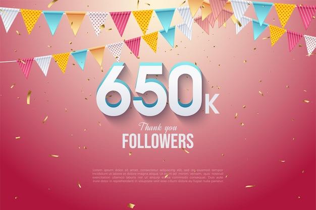 650.000 follower mit zahlen unter der flaggenreihe