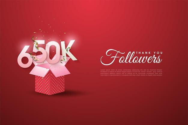650.000 follower mit zahlenillustration auf geschenkbox