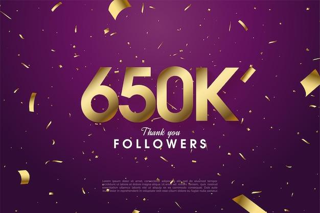 650k follower mit verstreuten goldfolienfiguren und fetzenillustration