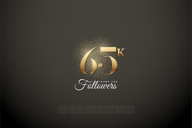 65k follower hintergrund mit goldenen ziffern und glitzer Premium Vektoren