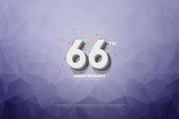 66-jähriges jubiläum auf kristallpapierhintergrund